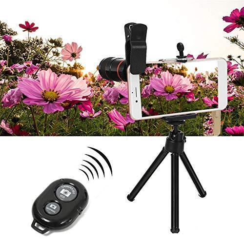 GonFan Selfie Sticks draagbare all-in-1 telefoon camera lens 8X telescoop selfie stok statief Bluetooth remote kit - zwart voor reizen