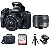 Canon EOS M50 15-45mm Mirrorless Digital Camera (Black) with Canon EOS Camera Gadget Bag, 64GB SD Card, Flexible 12' Spider Tripod, and Battery & Charger Pack Bundle (5 Items)