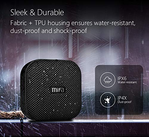 MIFAA1Bluetoothスピーカー防水耐衝撃コンパクトで持ち運びに便利MicroSDカード対応USB充電ワイヤレスTWS機能でステレオサウンド12時間連続再生マイク内蔵吸盤付き(ブラック)