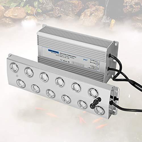 Mxmoonant Nebelmacher 12-Kopf Ultraschall Nebelhersteller 8.4L/ H-Nebelbefeuchter mit Boje und 400W Netzteil für den Gartenbau Landschaftliche Landschaft Gemüseaufbewahrung Magische Atmosph
