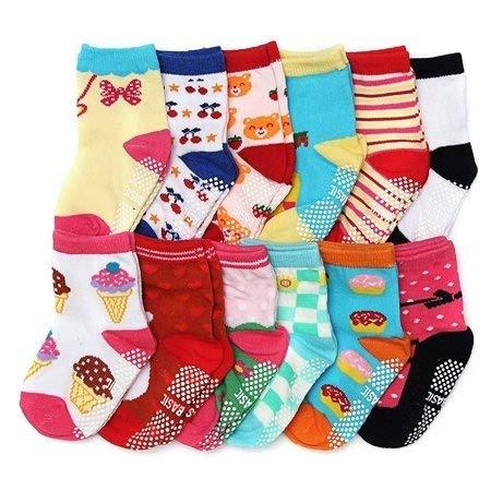 kit 12 pares de meias 6 a 8 anos 6-8 anos antiderrapante tema genero meninas