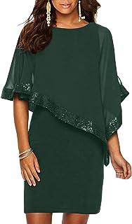 Ancapelion Damen Kleid Ärmellos Minikleid Chiffon Cocktailkleid Pailletten Pencil Partykleid Lässige Kleidung Abendkleid Frauenkleid Kleid für Frauen