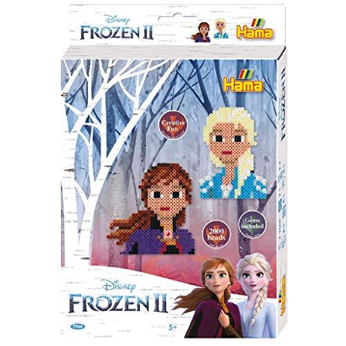 Hama 7964 Kleine Geschenkpackung Disney Frozen 2, Bügelperlen Midi, ca. 2000 Stück inklusive Stiftplatten, Strassjuwelen und Zubehör, bunt