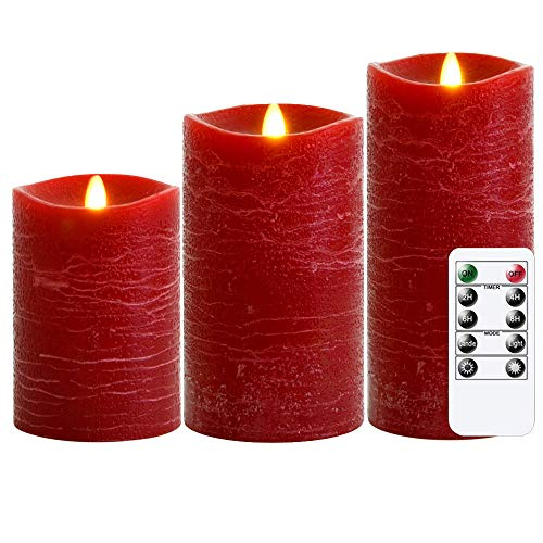REDSHORE Red Flameless Candles Flickering Candles Lamp 3 Pack D 3' H 4' 5' 6' Battery Operated LED Candles Real Wax with Remote Timer,Textured Wax Finish