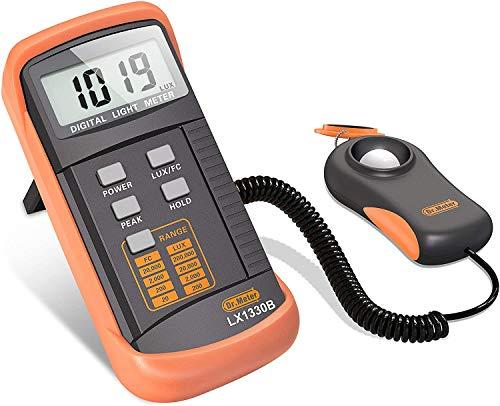 Dr. Meter® LX1330B–Luxómetro digital, 200.000lux, con gran precisión, reacción rápida y retención de los datos