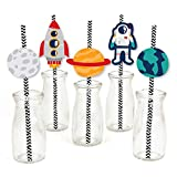 Blast Off to Outer Space - Paper Straw Decor - Rocket Ship Baby Shower or Birthday Party Striped Decorative Straws - Set of 24