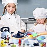 Wenta Juego de utensilios de cocina para niños, 30 piezas, utensilios de cocina con ollas y sartenes, juego de rol para niños, juguete educativo, regalo para niñas y niños a partir de 3 años