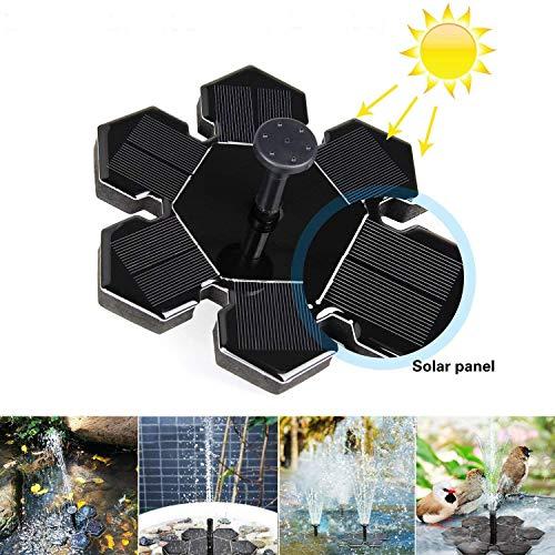 AngLink Solar Springbrunnen, Solar Teichpumpe mit 1.5W Solar Panel Schwimmende Fontäne Wasserpumpe, 4 Düsen für Gartenteich, Vogel-Bad, Fisch-Behälter, Kleinen Teich, Kinderbecken