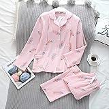 XFLOWR Batas de baño Otoño Conjunto de Pijama de crepé de algodón Puro Pantalones de Manga Larga Pijamas Mujeres Tallas Grandes Ropa de Dormir Pijama Completa Ropa de Dormir Kawaii M Rosa