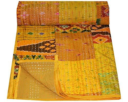 Crafts Creation Patola Silk Patch Kantha Quilt Kantha Decke Tagesdecke Patch Kantha Überwurf Queen Kantha Rallies Indian Sari Quilt Größe 228,6 x 274,3 cm 001 (Gelb, Queen 228,6 x 274,3 cm)