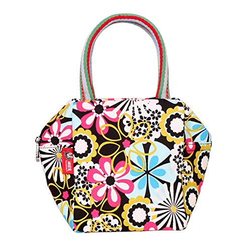 JDG Canvas Women's Bag Fashion Printed Handbag Small Hand Bag Ladies Tide Bag Fabric Summer Small Bag (Color : Seven colorful flowers, Size : 15 * 12 * 17cm)