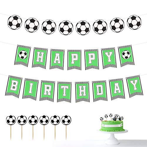 CHALA BUON COMPLEANNO Banner,Decorativo Calcio Forniture per Feste Calcio Banner Tema Calcio per Bambini,Ragazzi,Tifosi Festa di Compleanno