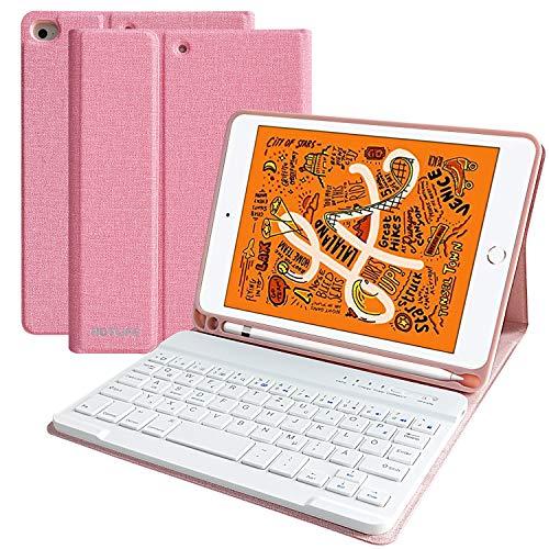 HOTLIFE Tastatur Hülle für 2019 iPad Mini 4/5, ipad 7.9 inch Slim Keyboard Case mit eingebautem Pencil Halter und magnetisch Abnehmbarer drahtloser Bluetooth Tastatur(Pink)