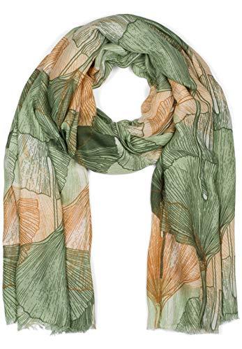 styleBREAKER Damen Schal mit farbigem Ginkgo Leaves Blätter Muster Print und kurzen Fransen, leichtes Tuch, Stola 01016208, Farbe:Grün-Braun