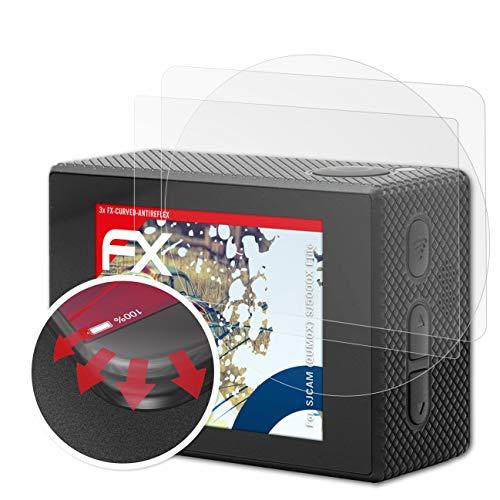 atFoliX Anti-Choque Lámina Protectora de Pantalla Compatible con SJCAM (QUMOX) SJ5000X Elite Antichoque Película Protectora, antirreflectante y Flexible FX Película Protectora (Set de 3)