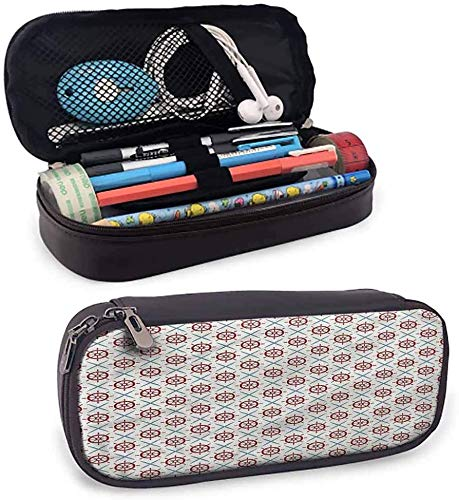 KLKLK estuche Ships Wheel Pencil Cases for Teen Girls Diagonal Grid Geometry Pencil case Perfect Gift