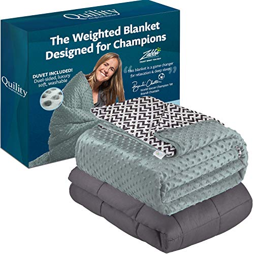 """Quility Weighted Blanket for Kids or Adults - Heavy Heating Blankets for Restlessness (41""""x60"""", 10 lbs), Grey, Black & White Print Cover"""