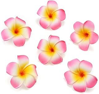 fake flowers heads Plumeria Hair Clip Hawaiian PE Foam Frangipani Artificial Flower for Wedding Party Decoration Fake Egg Flower Bouquets 20pcs 7cm (Pink)