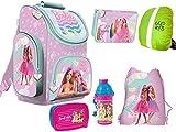 Barbie Lot de 6 sacs d'écolier ergonomiques Tornister XXL Trousse de gym Sac à déjeuner Sac à déjeuner Sac à déjeuner avec housse de pluie Fille Licence Barbie