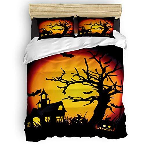 HARXISE Juego de Funda nórdica Tema de Halloween Castillo Murciélago Patrón de Bruja Juego de Cama Suave y Transpirable de 3 Piezas