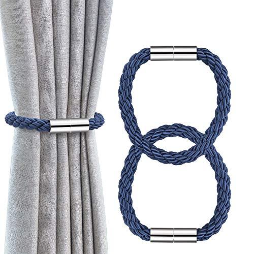 OOTSR Magnetische Vorhang Raffhalter, Vorhanghalter Clips Stark Magnetisch Vorhang Seil Holdbacks Schnallen Gardinenklammern Für Haus Office Dekoration Fenster Behandlung (Dunkel Blau)