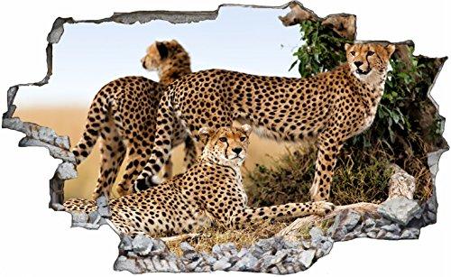 DesFoli Gepard Leopard 3D Look Wandtattoo 70 x 115 cm Wanddurchbruch Wandbild Sticker Aufkleber C111