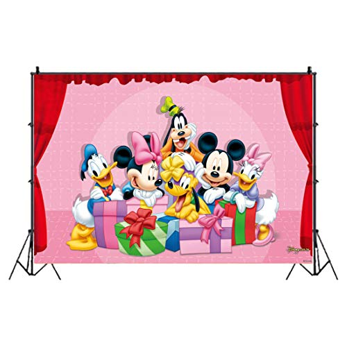 Mickey Minnie Mouse Photo Backdrops HANEL-Mickey Party Decoration Photo Backdrop Cake Table Decoration Kids Studio Props Vinyl Hintergrundtuch for Kids Birthday Party Decoration Boys Baby Shower