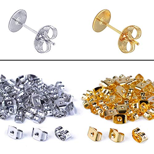 BronaGrand Ohrring-Stopper 100 Paar Ohrstecker-Verschluss Ohrring Ohrstecker Schmetterling Verschluss Ohrstopper Endkappe, Silber, 200 Stück