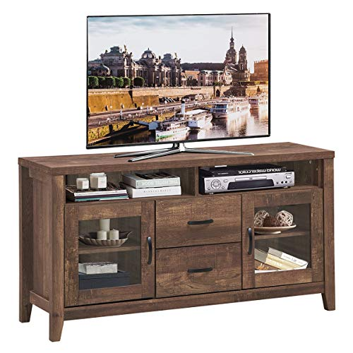 Tangkula Wooden TV Stand for TV's up to 65-Inch, Retro Style Tall TV Stand with Drawers & Tempered Glass Doors, Rustic Media Storage Console Cabinet for Living Room, TV Entertainment Center (Walnut)