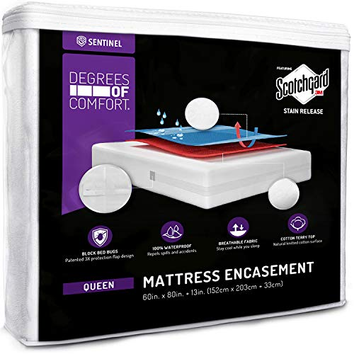 Degrees of Comfort Waterproof Mattress Encasement Queen Size 13-15'' Inch Deep Pocket | Zippered Design with Cotton Cover, 3M Scotchgard Stain Resistant | Hypoallergenic, Breathable, Bedbug Protector Connecticut