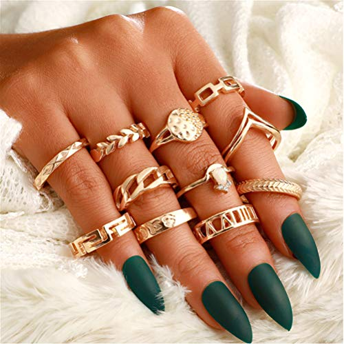 Cathercing 11 Pcs Gold Ring Sets for Women Knuckle Vintage Rings Pack for Women Girls Bohemian Rings Gold Joint Knot Rings Set for Teens Party Daily Fesvital Jewelry Gift(style1)