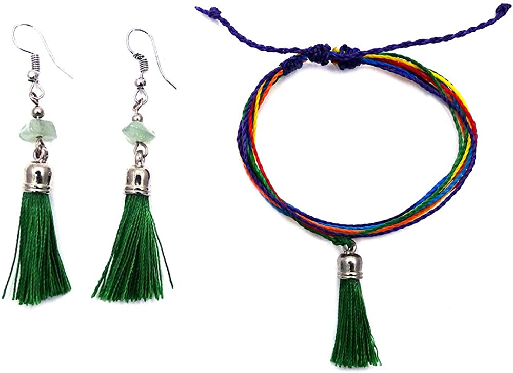 Tassel Thread Dangle Multi Strand String Pull Tie Multicolored Bracelet with Matching Tassel Chip Stone Earrings Jewelry Set