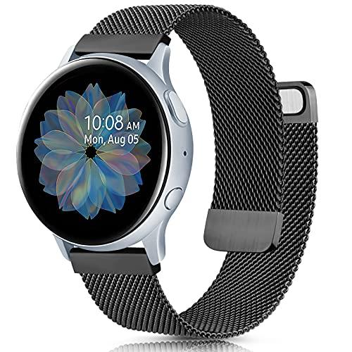 AK 20mm Cinturino per Samsung Galaxy Watch Active 2 40mm 44mm, Cinturino in Acciaio Inossidabile con Fibbia a Doppio Magnete per Samsung Galaxy Watch Active/Galaxy Watch Active2/Gear S2 Classic