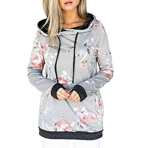 Sevenelks Damen Blumen Langarm Hoodies Kapuzenpullover Sweatshirt Oberteil Pullover