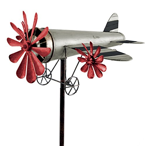 ROSINENBOMBER Moulin à vent en forme d'avion en métal, argenté et rouge, Décoration de jardin