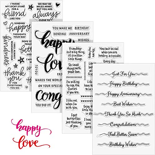 4 Sheets Clear Stamps with Sentiments,Rubber Stamp Set with Happy Birthday Greetings for Card Making Scrapbooking Journaling and Crafting,Anniversary Silicone Stamps Set Adults and Kids