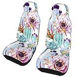 Funda de asiento para coche, acuarela, cactus, flores, funda para silla de coche, protector universal para asiento delantero de coche, 2 piezas