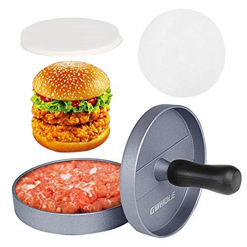 GWHOLE Pressa per Hamburger Pressa Stampa in Alluminio + 100 Dischi Antiaderenti, Perfetto per BBQ