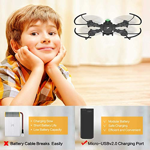 JT63 Mini Drones for Kids Beginners,Foldable Pocket RC Quadcopter with Long Flight Time,2 Batteries,Altitude Hold,Headless Mode, One Key Start/Land, Speed Adjustment,3D Flips,Toys Gift for Boys Girls
