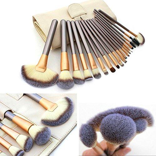 Ammiy® Lot de 18 pinceaux de maquillage professionnels avec manche en bois synthétique livrés avec leur sac de rangement couleur crème