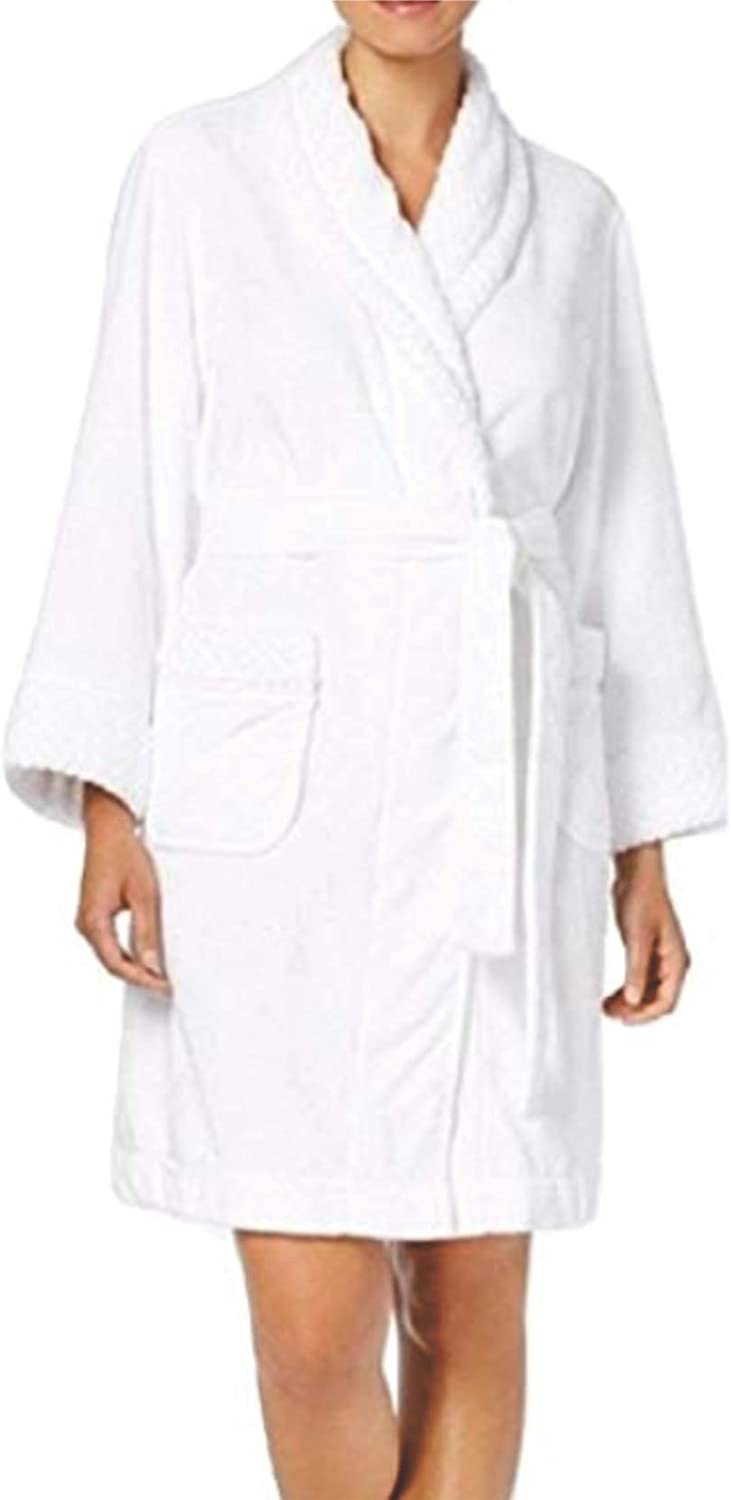 Charter Club Short Dimple Contrast Robe White Textured