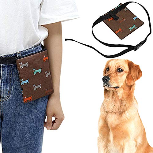 jingxiaopu Bolsa Premios Perro Bolsa para Golosinas para Mascota Bolso Merienda Perro Forro FáCil De Limpiar Bolso Perro PequeñO Lavable For Adiestramiento Perros Brown
