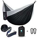 ERUW CozyHoliv Camping Hammock, Double Portable Parachute Hammocks for Outdoor Hiking Travel Backpacking - 210D Nylon Hammock Swing for Backyard & Garden 78''W118''L (Black/Grey - Double)
