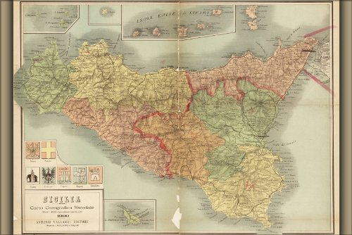 """History Galore 24""""x36"""" Gallery Poster, 1900 map of Sicily Italy"""