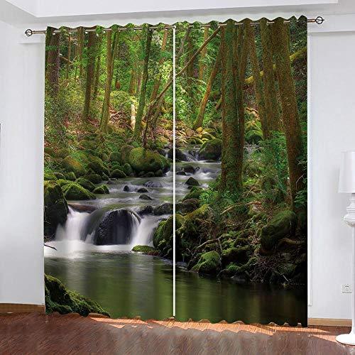 Ageeseso® Rideaux Salon Design modernePont de Beau Paysage de rivière forestière Thermiques Occultants Isolation Lumineuse à Oeillets, 2 Panneaux Draperie de Fenêtre pour Enfants 2 x 150(W) x166(H) c