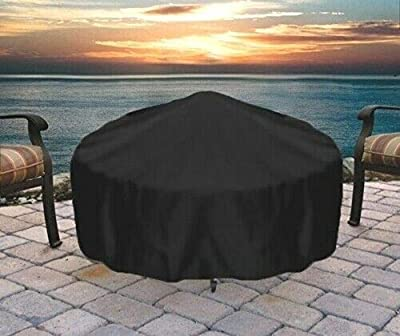 Durable Weather-Resistant Round Fire Pit Cover - Black - 48-Inch