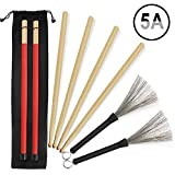 5A Drumsticks, 2 Pairs Classic High Quality Maple Drum Stick Sets With Retractable