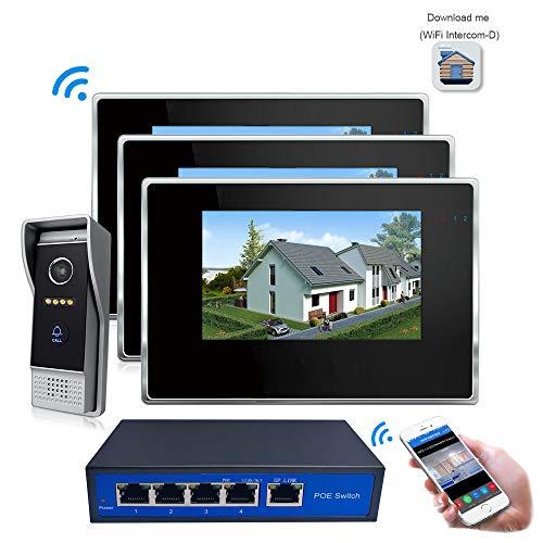 Jeatone Interphone vid/éo 7AHD avec Coupe IR pour Une Meilleure Vision Nocturne Interphone vid/éo 1 interphone 1 Sonnette 2