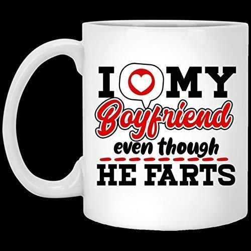 Divertida taza de café navideña de Halloween Amo a mi novio incluso aunque se tira pedos Tazas a juego Taza de café divertida 11 oz
