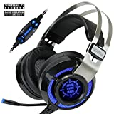 ENHANCE Scoria Gaming Headset for Computer & PS4 with USB 7.1 Surround Sound, Interactive Bass Vibration, Adjustable LED Lighting, in-Line Controls & Retractable Microphone (Renewed)
